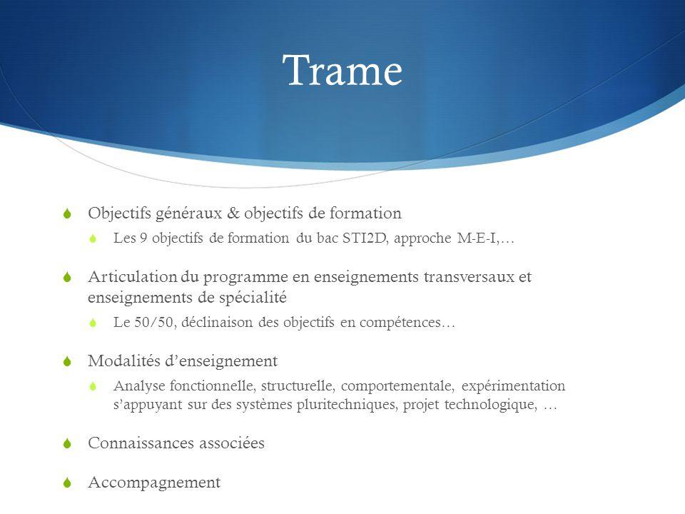 Trame Objectifs généraux & objectifs de formation Les 9 objectifs de formation du bac STI2D, approche M-E-I,… Articulation du programme en enseignemen