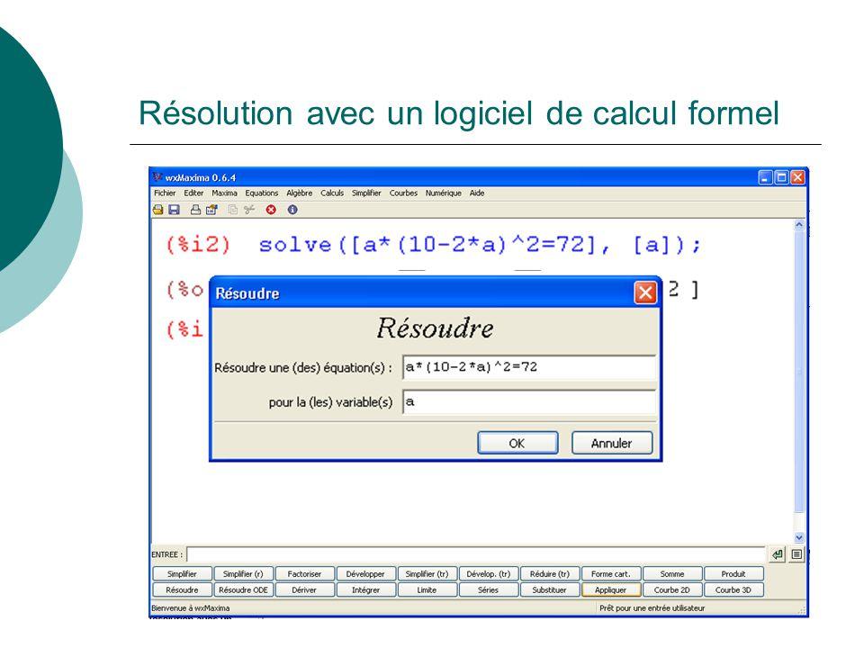 Résolution avec un tableur Une solutionIl y a une deuxième solutionElle se situe entre 1,35 et 1,36