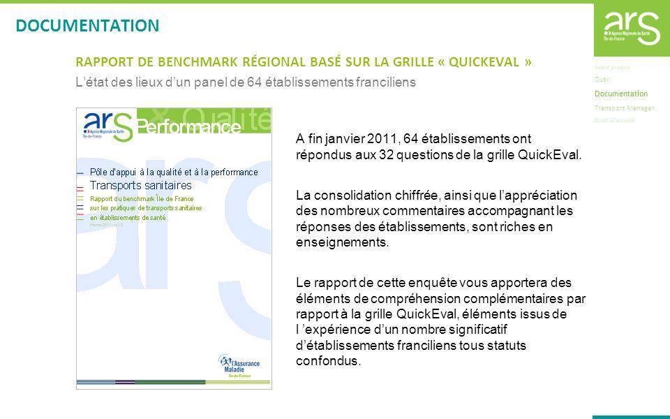 RAPPORT DE BENCHMARK RÉGIONAL BASÉ SUR LA GRILLE « QUICKEVAL » Létat des lieux dun panel de 64 établissements franciliens A fin janvier 2011, 64 établ