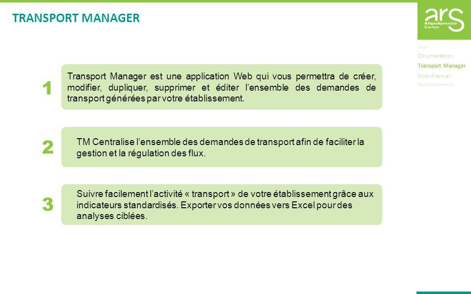 1 2 3 Outil Documentation Transport Manager Ecran daccueil Nouvelle demande Transport Manager est une application Web qui vous permettra de créer, mod