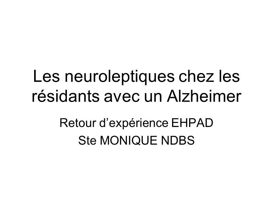Les neuroleptiques chez les résidants avec un Alzheimer Retour dexpérience EHPAD Ste MONIQUE NDBS