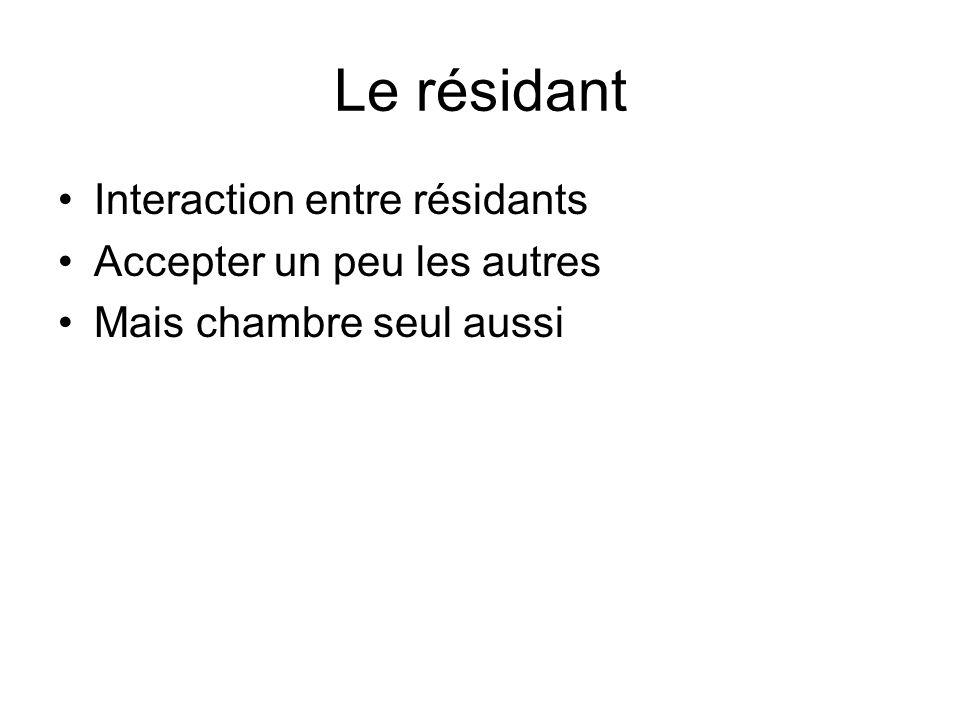Le résidant Interaction entre résidants Accepter un peu les autres Mais chambre seul aussi