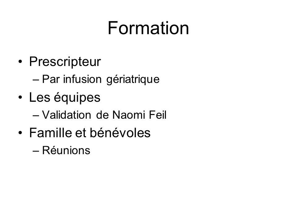 Formation Prescripteur –Par infusion gériatrique Les équipes –Validation de Naomi Feil Famille et bénévoles –Réunions