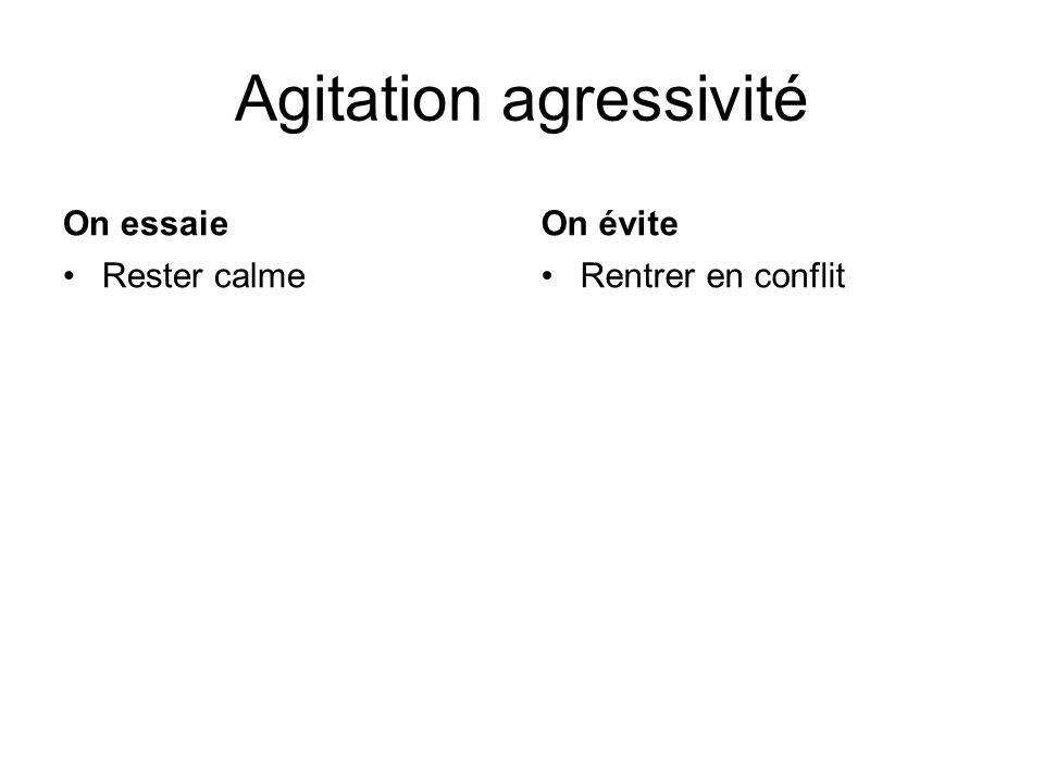 Agitation agressivité On essaie Rester calme On évite Rentrer en conflit