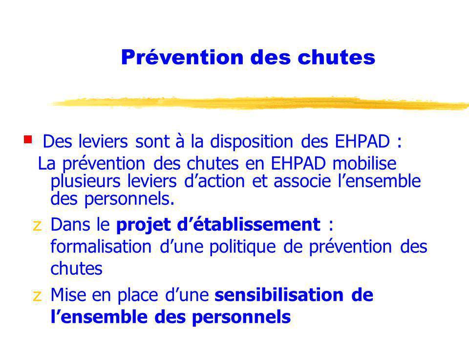 Des leviers sont à la disposition des EHPAD : La prévention des chutes en EHPAD mobilise plusieurs leviers daction et associe lensemble des personnels.
