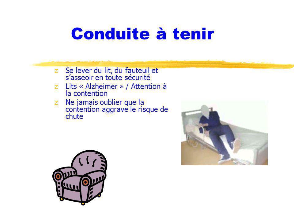 Conduite à tenir zSe lever du lit, du fauteuil et sasseoir en toute sécurité zLits « Alzheimer » / Attention à la contention zNe jamais oublier que la contention aggrave le risque de chute