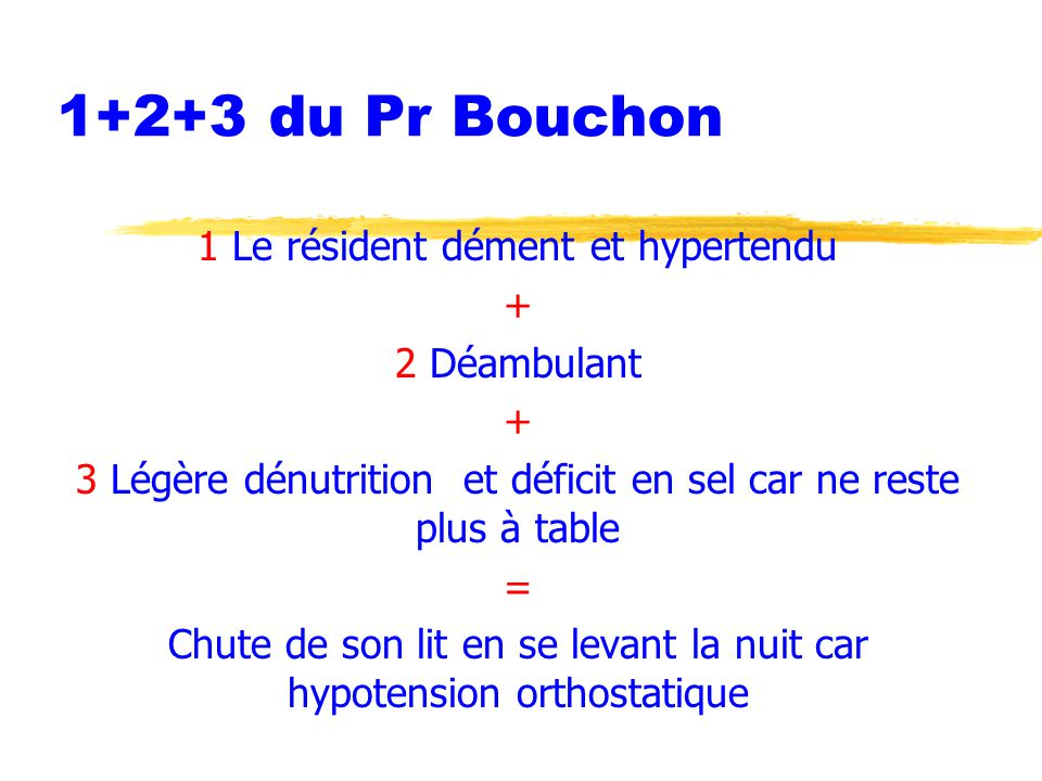 1+2+3 du Pr Bouchon 1 Le résident dément et hypertendu + 2 Déambulant + 3 Légère dénutrition et déficit en sel car ne reste plus à table = Chute de so