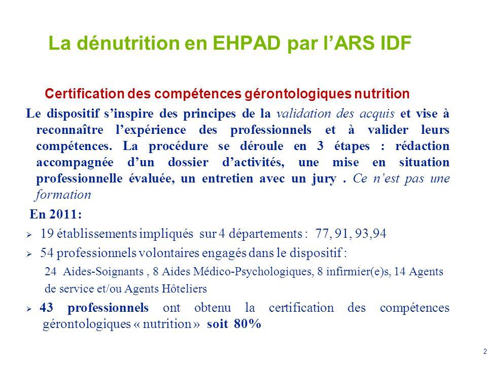 2 La dénutrition en EHPAD par lARS IDF Certification des compétences gérontologiques nutrition Le dispositif sinspire des principes de la validation d