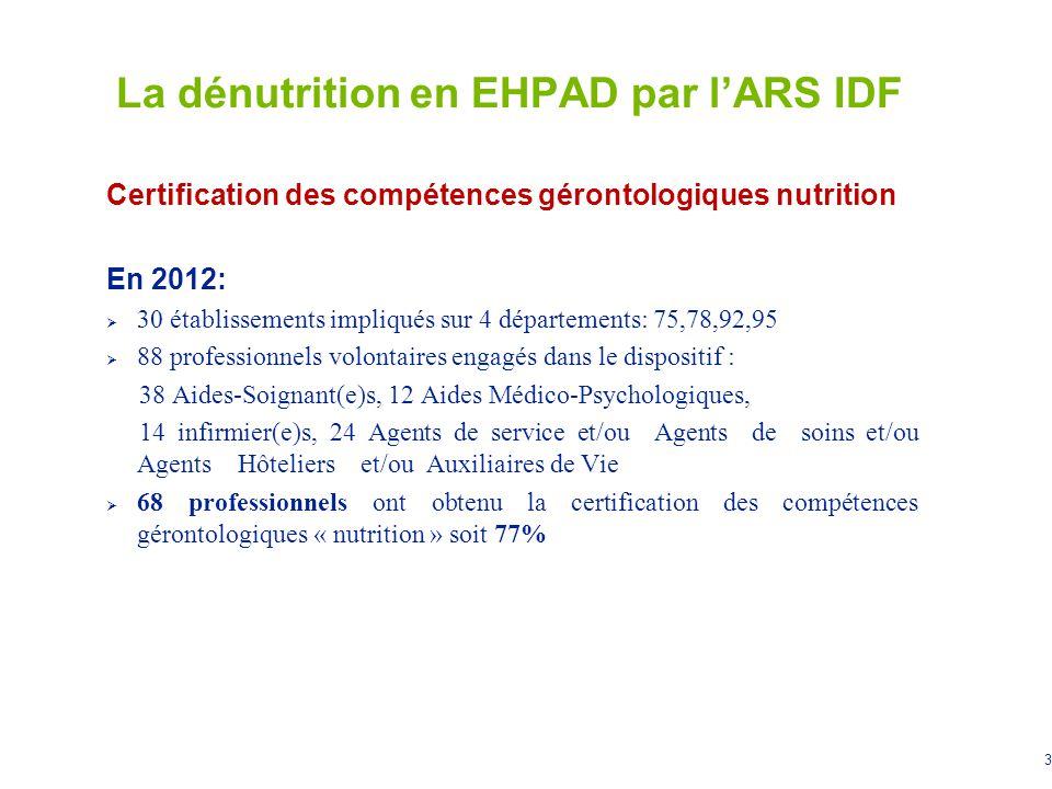 4 La dénutrition en EHPAD par lARS IDF Optimiser lutilisation de loutil MOBIQUAL : « nutrition dénutrition, alimentation de la personne âgée » Accompagnement de la mise en œuvre et du suivi de loutil dans 10 EHPAD volontaires de 4 départements: 77, 91, 93, 94 Elaboration dun guide pédagogique pour favoriser lappropriation des différentes fiches de la mallette MOBIQUAL « nutrition », à disposition des 670 EHPAD dIle de France (diffusé par voie postale, à disposition sur le site de lARS) Mesure des effets sur la charge de travail des professionnels et sur le taux de dénutrition des résidents (indicateurs de suivi déterminés avec les EHPAD )