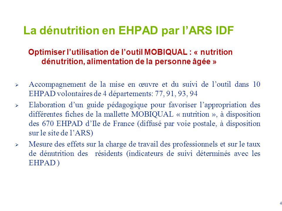 4 La dénutrition en EHPAD par lARS IDF Optimiser lutilisation de loutil MOBIQUAL : « nutrition dénutrition, alimentation de la personne âgée » Accompa