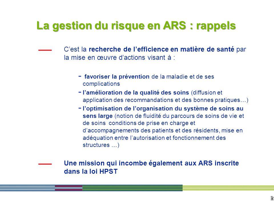 2 ARS Ile de France Direction de loffre de soins et médico-sociale 12 avril 2010 Diapositive : 2 La gestion du risque en ARS : rappels Cest la recherc