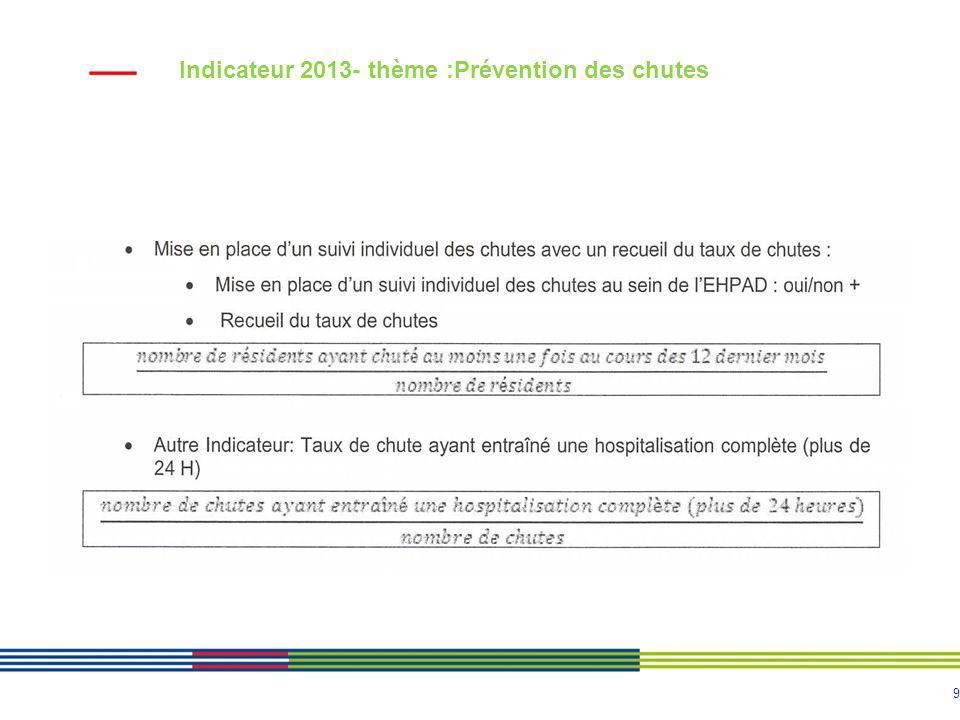 9 Indicateur 2013- thème :Prévention des chutes