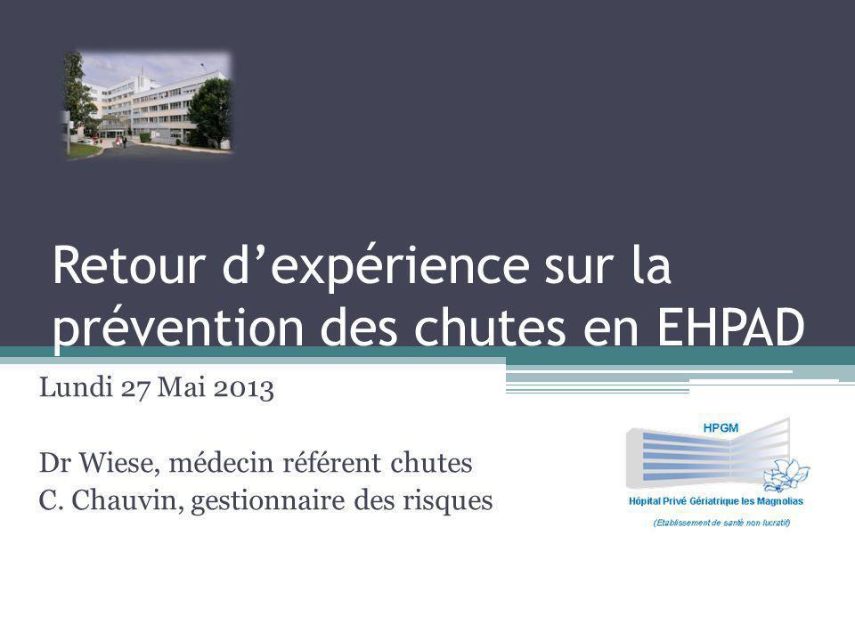 Retour dexpérience sur la prévention des chutes en EHPAD Lundi 27 Mai 2013 Dr Wiese, médecin référent chutes C.