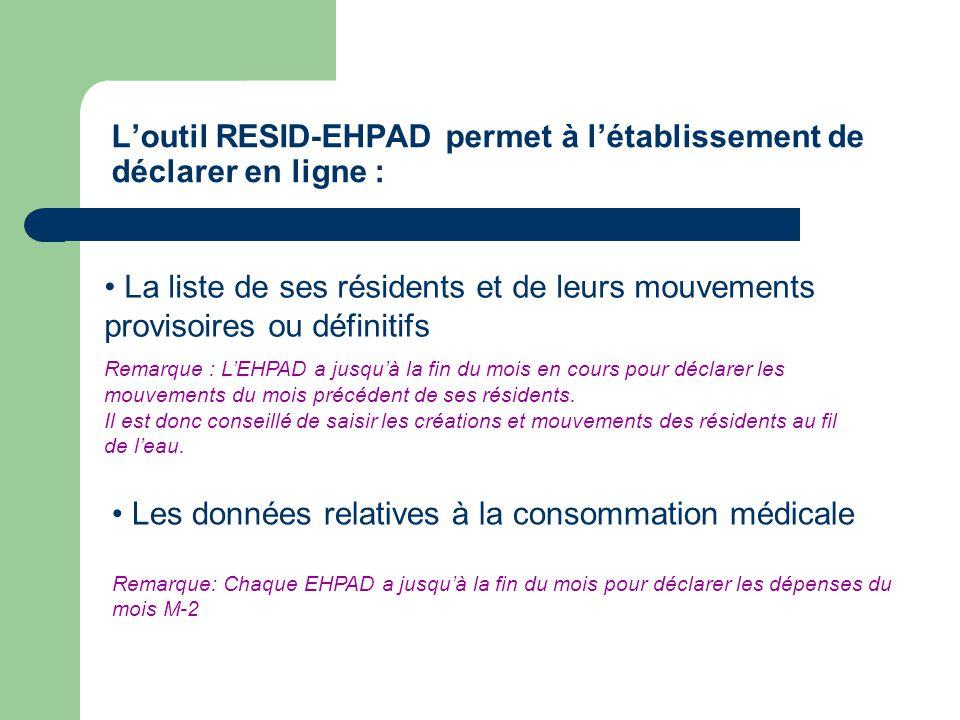 Loutil RESID-EHPAD permet à létablissement de déclarer en ligne : La liste de ses résidents et de leurs mouvements provisoires ou définitifs Remarque