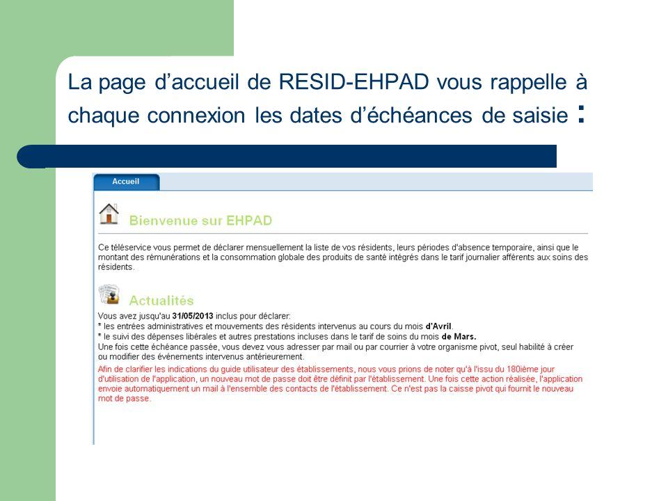 La page daccueil de RESID-EHPAD vous rappelle à chaque connexion les dates déchéances de saisie :