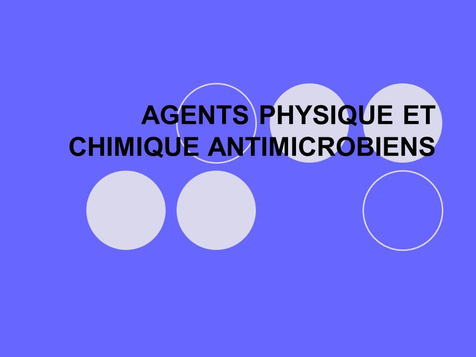 ACTION MECANIQUE SUR LA MEMBRANE PLASMIQUE Savons et détergents : - savons = sels sodiques ou potassiques d acides gras - détergents anioniques et cationiques - antiseptiques de la peau et des muqueuses ACTION SUR LE METABOLISME Colorants : - bleu de méthylène - vert brillant - vert de malachite - violet de méthyl - antiseptiques à usage local - milieux de culture CONSERVATEURS ALIMENTAIRES SO 2 –Sulfites (agents réducteurs) Acides organiques : - acides benzoïque, salicylique - sorbique - Vins - Pain et produits céréaliers