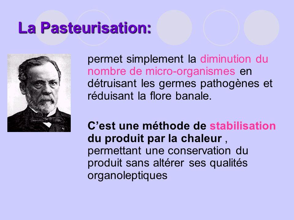 La Pasteurisation: permet simplement la diminution du nombre de micro-organismes en détruisant les germes pathogènes et réduisant la flore banale. Ces