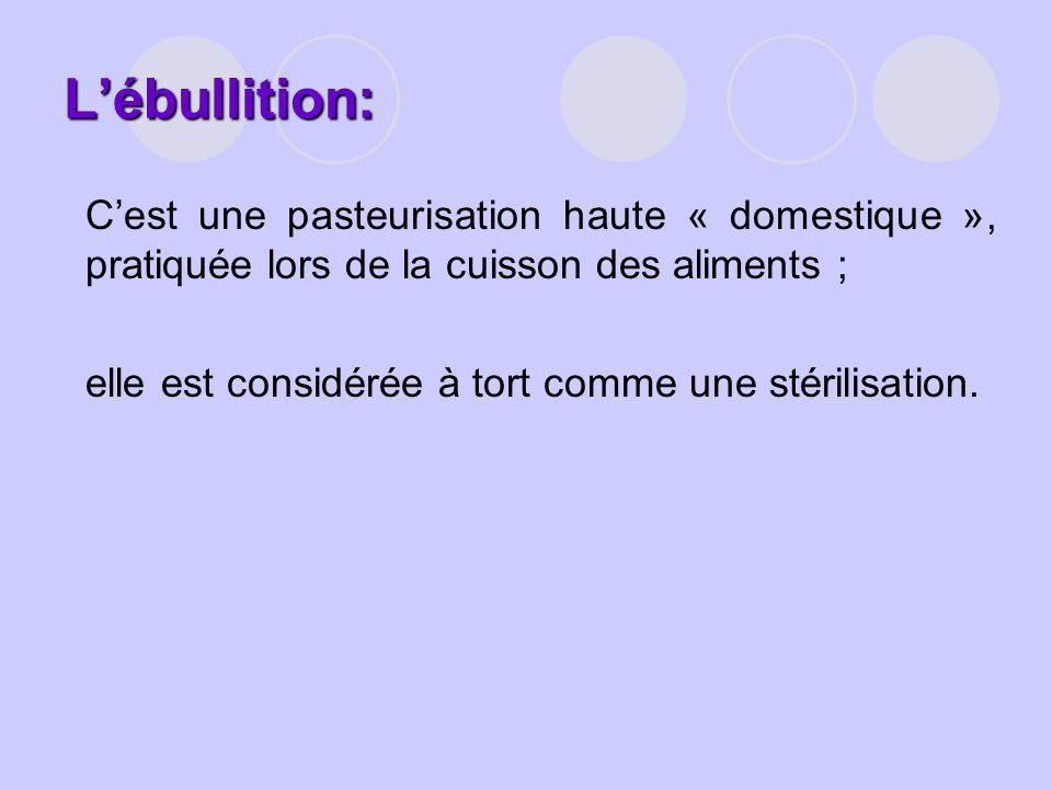 Lébullition: Cest une pasteurisation haute « domestique », pratiquée lors de la cuisson des aliments ; elle est considérée à tort comme une stérilisat