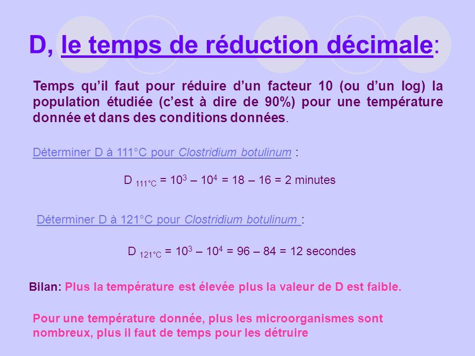 D, le temps de réduction décimale: Temps quil faut pour réduire dun facteur 10 (ou dun log) la population étudiée (cest à dire de 90%) pour une tempér