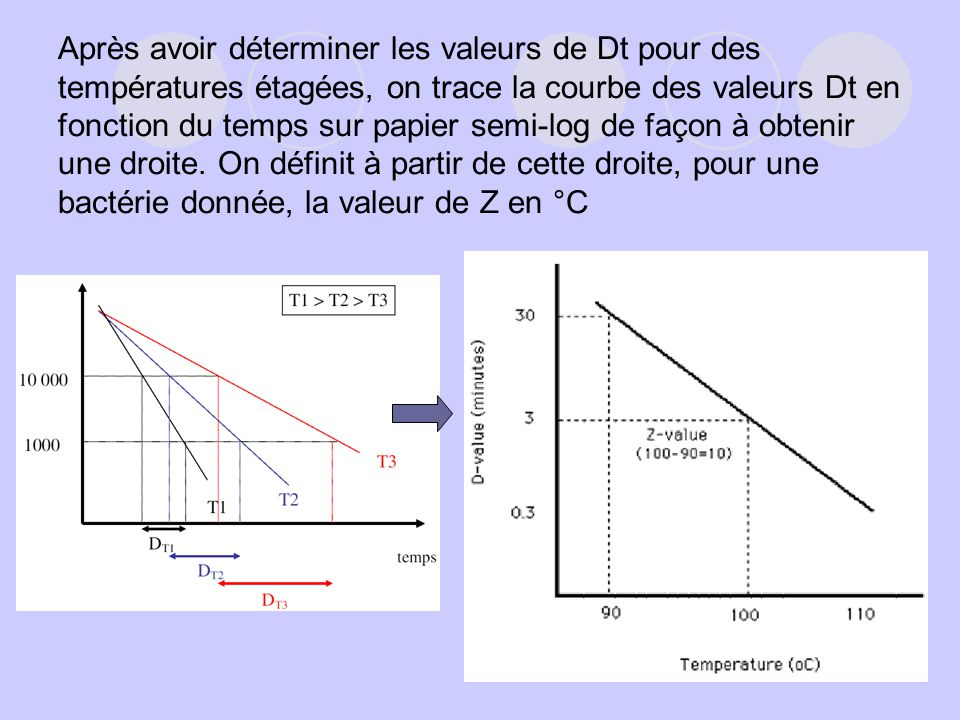 Après avoir déterminer les valeurs de Dt pour des températures étagées, on trace la courbe des valeurs Dt en fonction du temps sur papier semi-log de