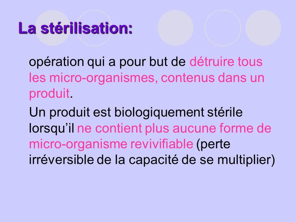 La stérilisation: opération qui a pour but de détruire tous les micro-organismes, contenus dans un produit. Un produit est biologiquement stérile lors
