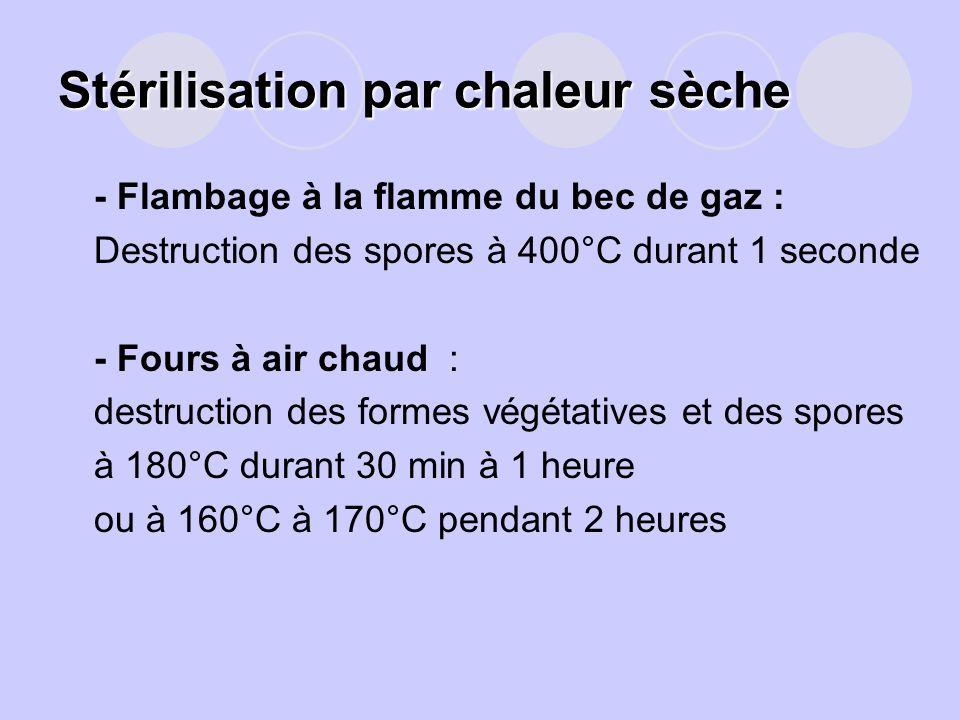 Stérilisation par chaleur sèche -- Flambage à la flamme du bec de gaz : -Destruction des spores à 400°C durant 1 seconde - -- Fours à air chaud : dest