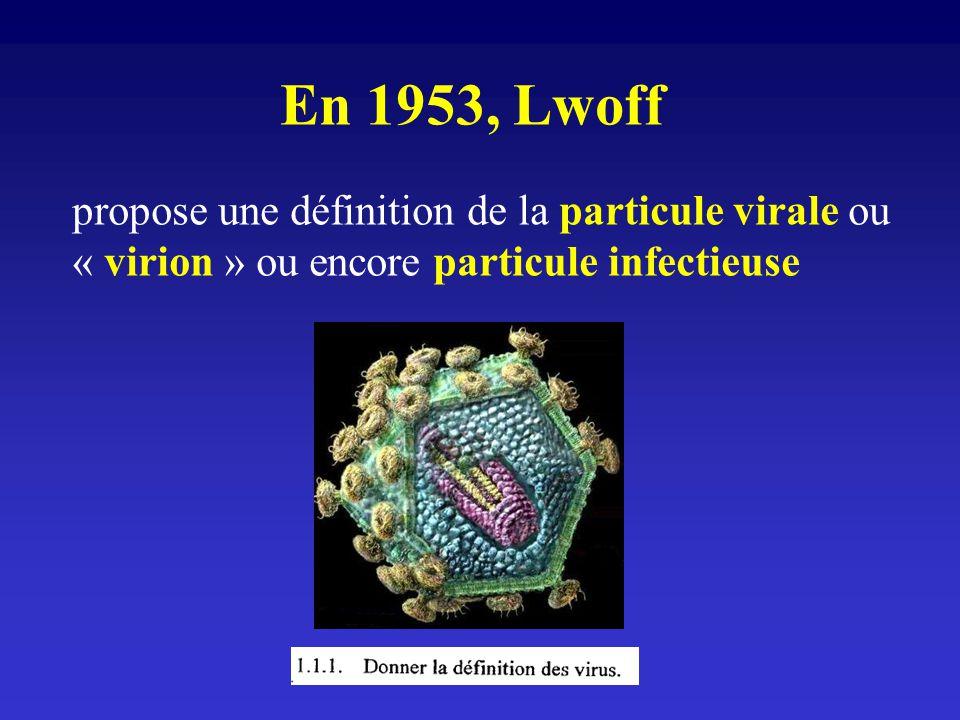 En 1953, Lwoff propose une définition de la particule virale ou « virion » ou encore particule infectieuse