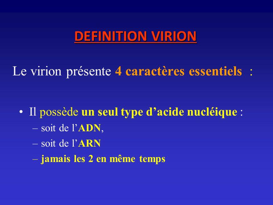 Le virion présente 4 caractères essentiels : Il possède un seul type dacide nucléique : –soit de lADN, –soit de lARN –jamais les 2 en même temps DEFIN