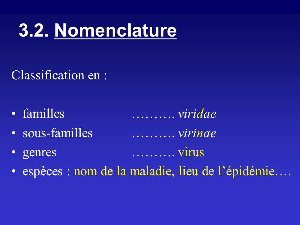 Classification en : familles ………. viridae sous-familles………. virinae genres………. virus espèces : nom de la maladie, lieu de lépidémie…. 3.2. Nomenclatur