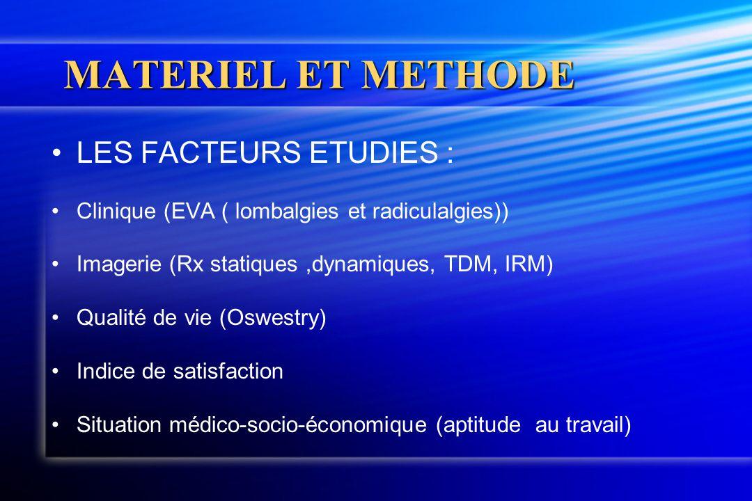 MATERIEL ET METHODE LES FACTEURS ETUDIES : Clinique (EVA ( lombalgies et radiculalgies)) Imagerie (Rx statiques,dynamiques, TDM, IRM) Qualité de vie (