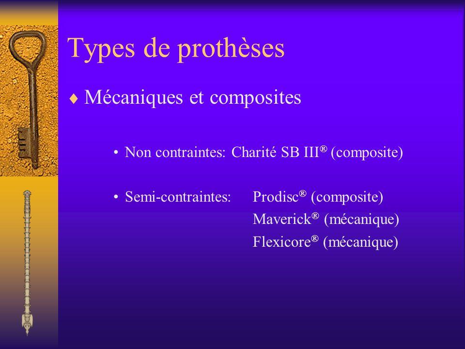 Types de prothèses Mécaniques et composites Non contraintes: Charité SB III ® (composite) Semi-contraintes: Prodisc ® (composite) Maverick ® (mécaniqu