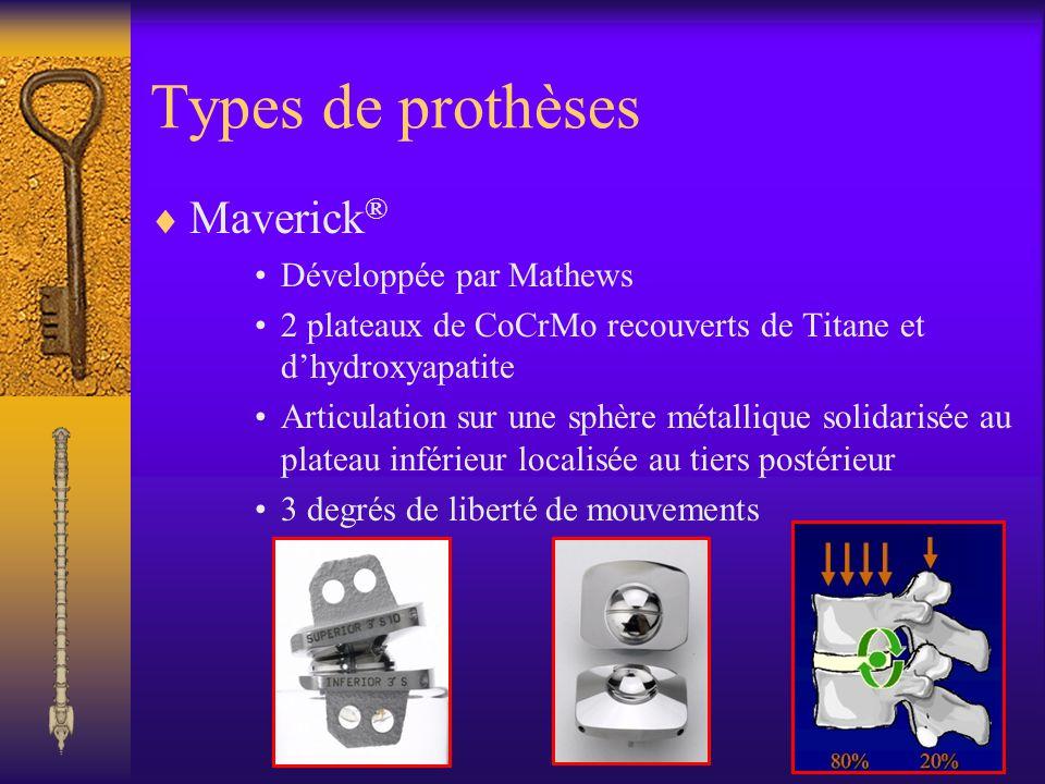 Types de prothèses Charité SB III ® Développée par Schellnack et Buttner-janz Charité SB I ® et SB II ® non commercialisées Cœur de polyéthylène de haut poids moléculaire biconvexe 2 plaques de CoCrMo recouvertes par du Titane et de lhydroxyapatite
