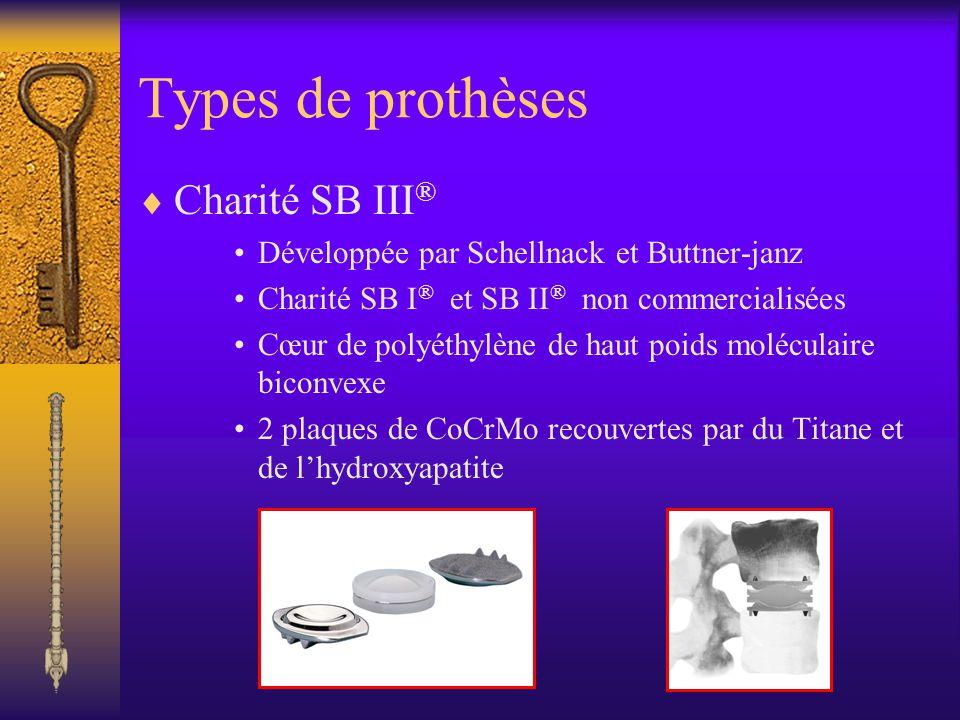 Types de prothèses Charité SB III ® Développée par Schellnack et Buttner-janz Charité SB I ® et SB II ® non commercialisées Cœur de polyéthylène de ha