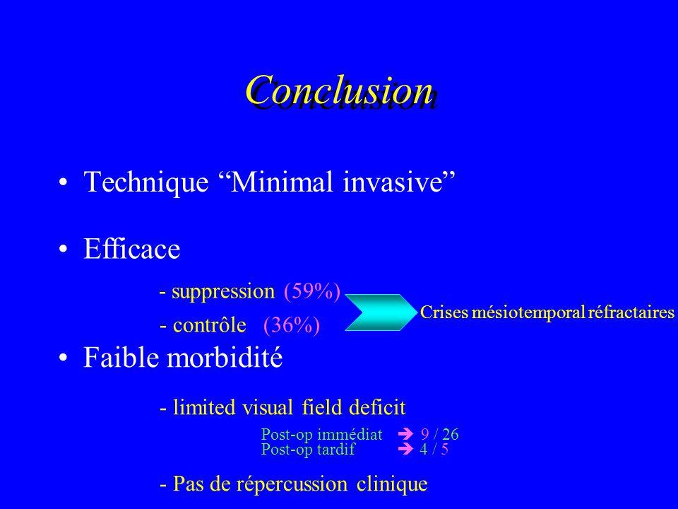 Technique Minimal invasive Efficace - suppression (59%) - contrôle (36%) Crises mésiotemporal réfractaires Faible morbidité - limited visual field def