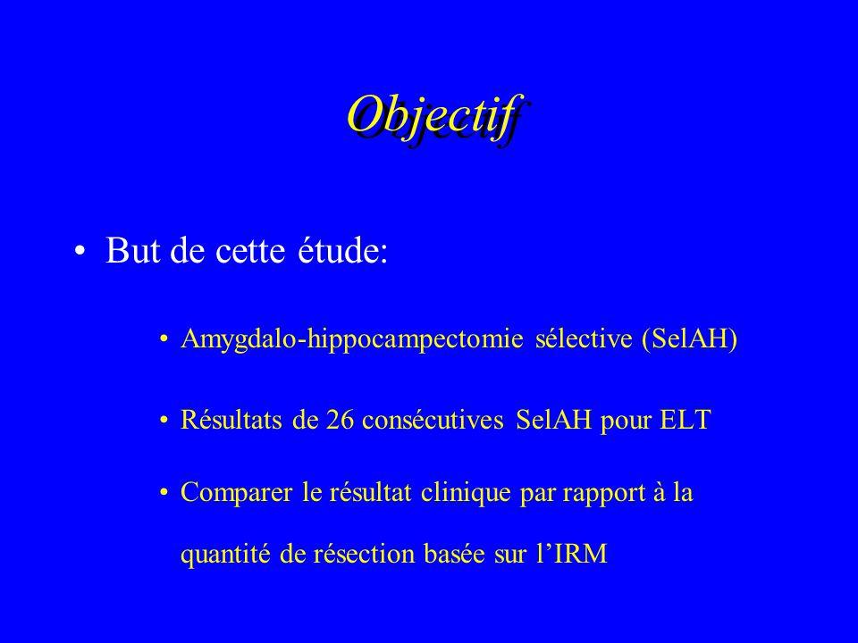 Objectif But de cette étude: Amygdalo-hippocampectomie sélective (SelAH) Résultats de 26 consécutives SelAH pour ELT Comparer le résultat clinique par