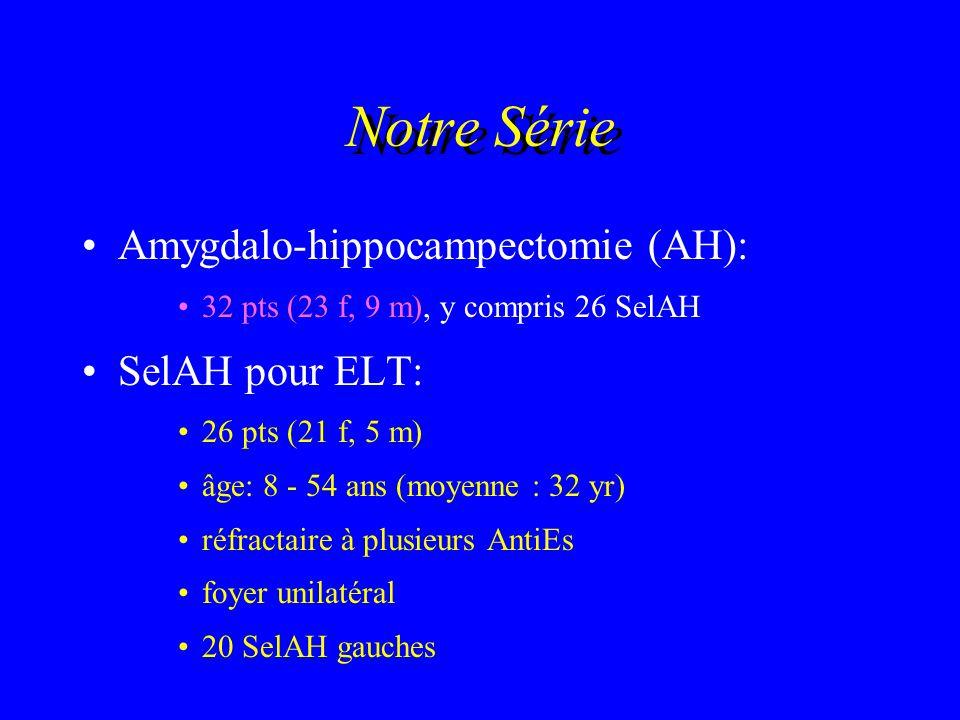 Notre Série Amygdalo-hippocampectomie (AH): 32 pts (23 f, 9 m), y compris 26 SelAH SelAH pour ELT: 26 pts (21 f, 5 m) âge: 8 - 54 ans (moyenne : 32 yr
