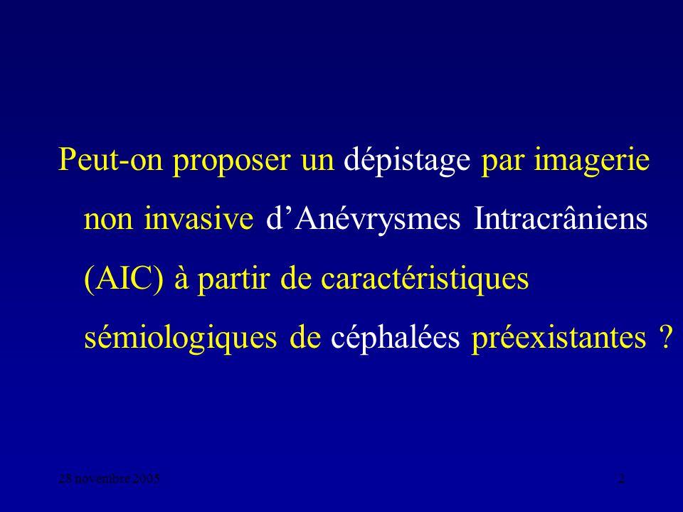 28 novembre 20052 Peut-on proposer un dépistage par imagerie non invasive dAnévrysmes Intracrâniens (AIC) à partir de caractéristiques sémiologiques d