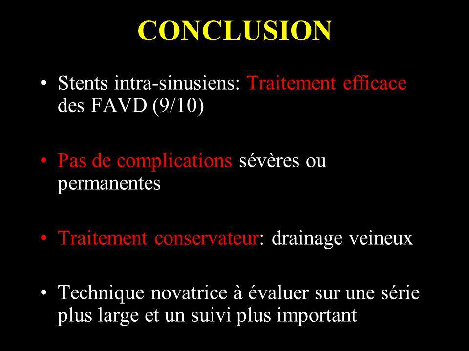 CONCLUSION Stents intra-sinusiens: Traitement efficace des FAVD (9/10) Pas de complications sévères ou permanentes Traitement conservateur: drainage v