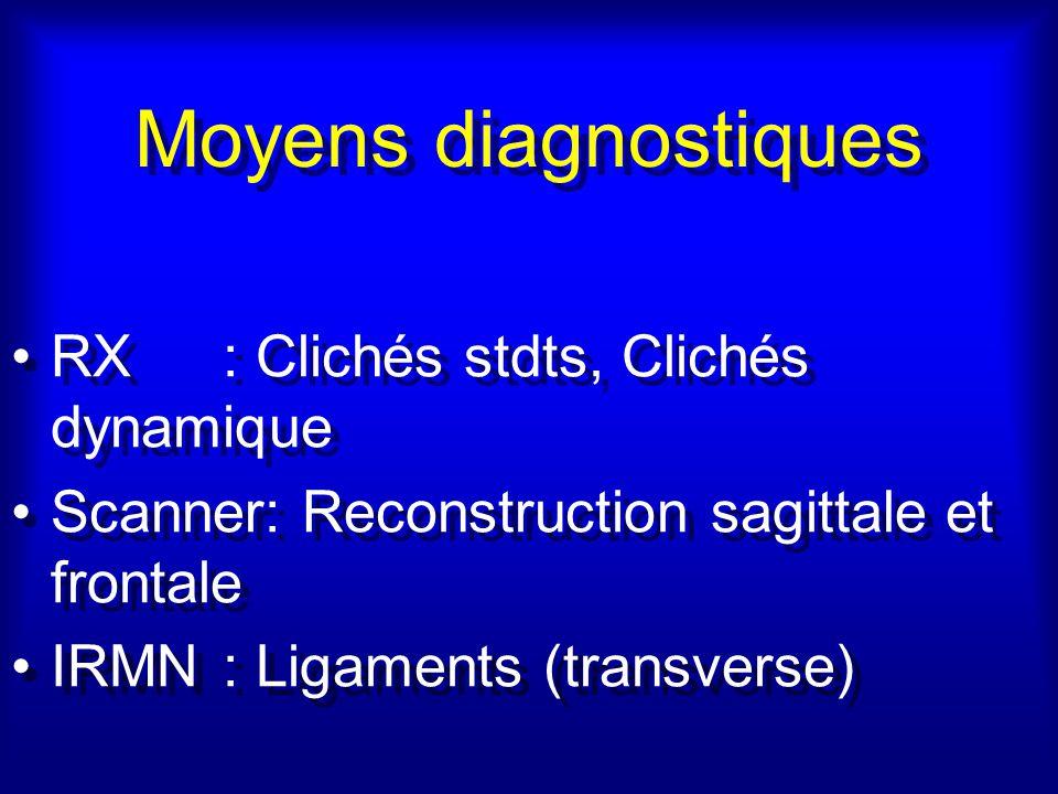 Moyens diagnostiques RX : Clichés stdts, Clichés dynamique Scanner: Reconstruction sagittale et frontale IRMN: Ligaments (transverse) RX : Clichés stdts, Clichés dynamique Scanner: Reconstruction sagittale et frontale IRMN: Ligaments (transverse)