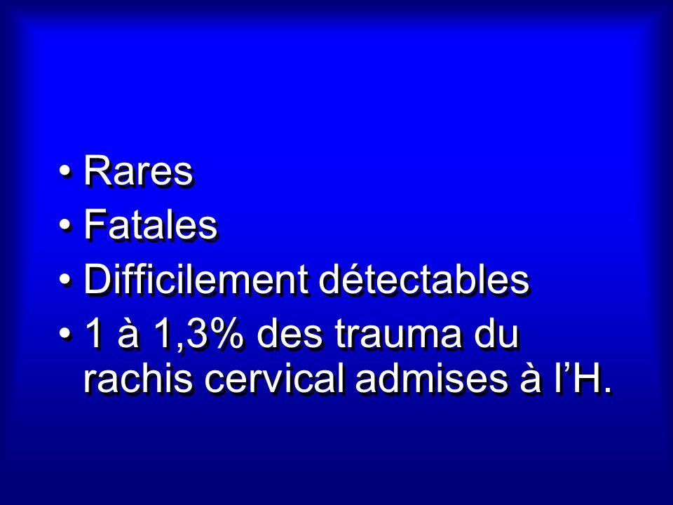 Rares Fatales Difficilement détectables 1 à 1,3% des trauma du rachis cervical admises à lH. Rares Fatales Difficilement détectables 1 à 1,3% des trau