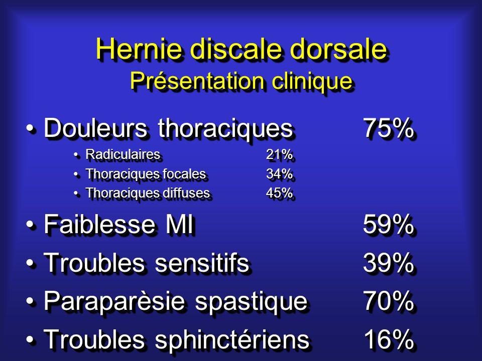 Hernie discale dorsale Présentation clinique Douleurs thoraciques75%Douleurs thoraciques75% Radiculaires21%Radiculaires21% Thoraciques focales34%Thoraciques focales34% Thoraciques diffuses45%Thoraciques diffuses45% Faiblesse MI59%Faiblesse MI59% Troubles sensitifs39%Troubles sensitifs39% Paraparèsie spastique70%Paraparèsie spastique70% Troubles sphinctériens16%Troubles sphinctériens16% Douleurs thoraciques75%Douleurs thoraciques75% Radiculaires21%Radiculaires21% Thoraciques focales34%Thoraciques focales34% Thoraciques diffuses45%Thoraciques diffuses45% Faiblesse MI59%Faiblesse MI59% Troubles sensitifs39%Troubles sensitifs39% Paraparèsie spastique70%Paraparèsie spastique70% Troubles sphinctériens16%Troubles sphinctériens16%