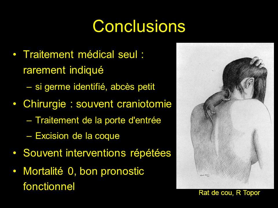Conclusions Traitement médical seul : rarement indiqué –si germe identifié, abcès petit Chirurgie : souvent craniotomie –Traitement de la porte d'entr