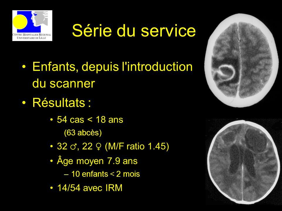 Série du service Enfants, depuis l'introduction du scanner Résultats : 54 cas < 18 ans (63 abcès) 32, 22 (M/F ratio 1.45) Âge moyen 7.9 ans –10 enfant