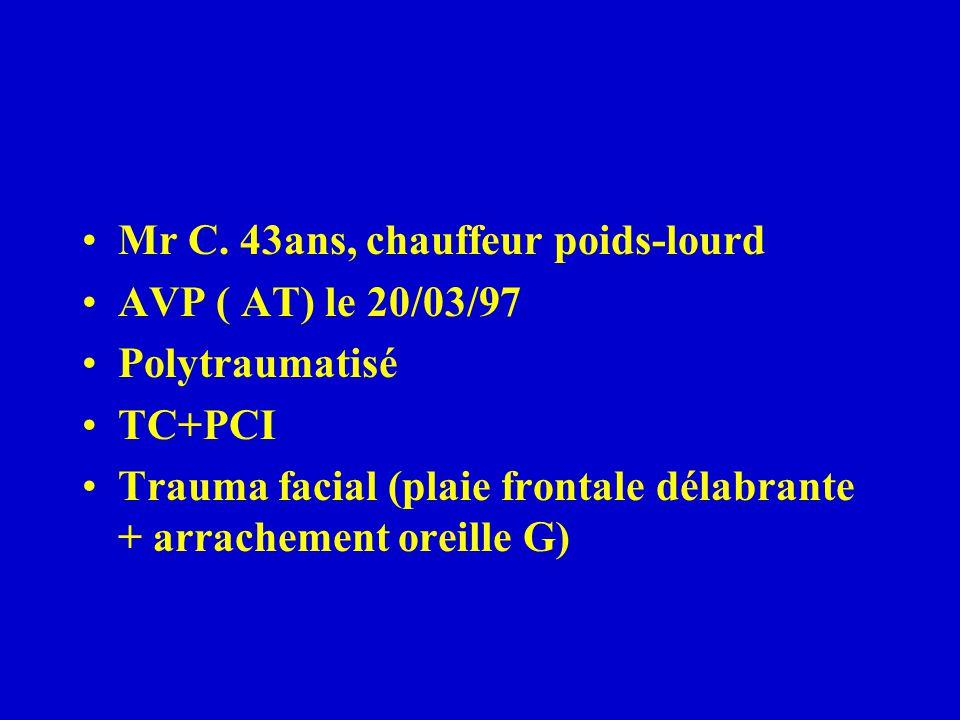Mr C. 43ans, chauffeur poids-lourd AVP ( AT) le 20/03/97 Polytraumatisé TC+PCI Trauma facial (plaie frontale délabrante + arrachement oreille G)