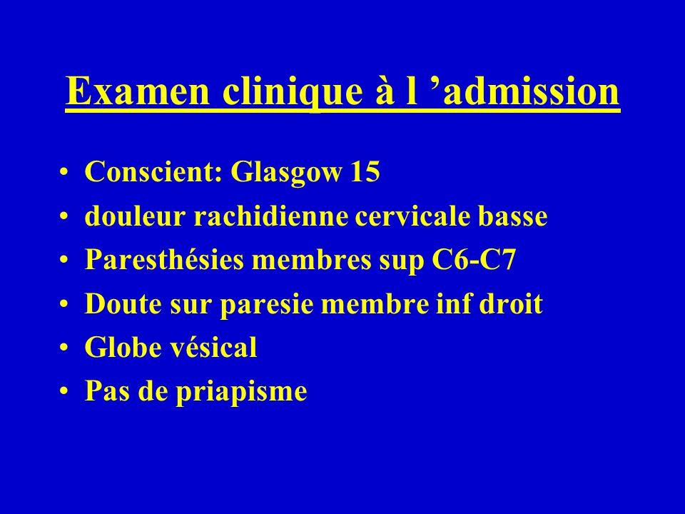Examen clinique à l admission Conscient: Glasgow 15 douleur rachidienne cervicale basse Paresthésies membres sup C6-C7 Doute sur paresie membre inf dr