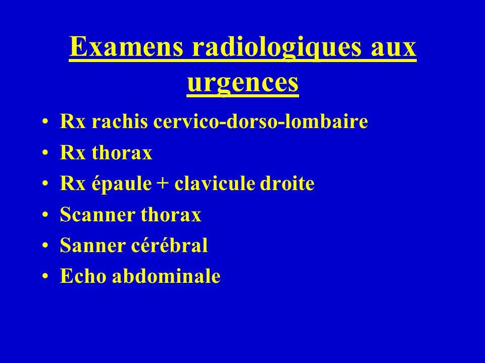 Examens radiologiques aux urgences Rx rachis cervico-dorso-lombaire Rx thorax Rx épaule + clavicule droite Scanner thorax Sanner cérébral Echo abdomin