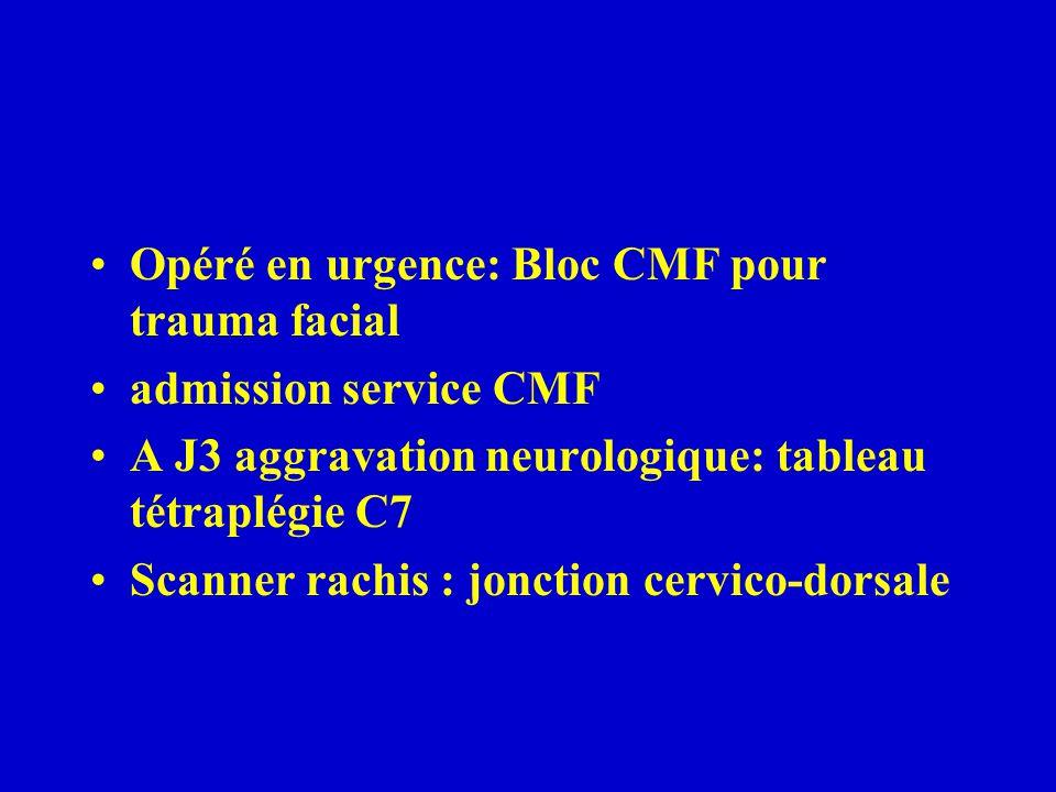 Opéré en urgence: Bloc CMF pour trauma facial admission service CMF A J3 aggravation neurologique: tableau tétraplégie C7 Scanner rachis : jonction ce