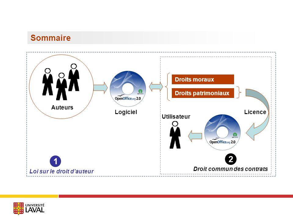 Sommaire Logiciel Auteurs Droits moraux Droits patrimoniaux Licence Loi sur le droit dauteur Droit commun des contrats Utilisateur 1 2