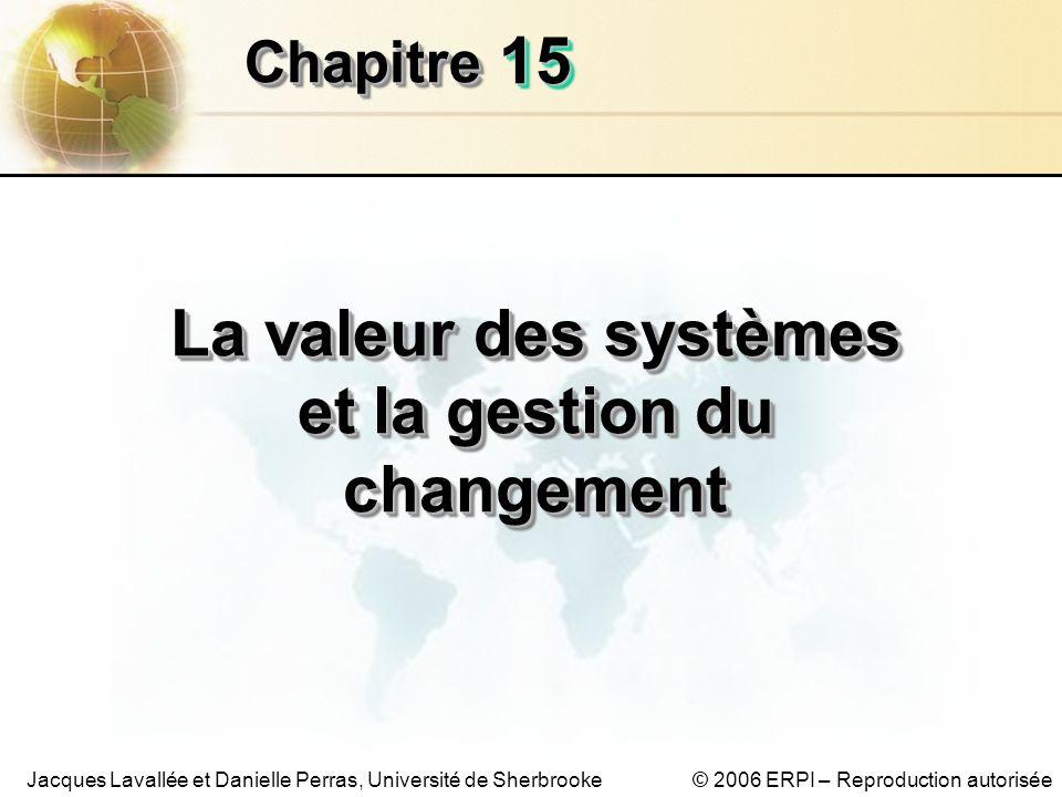 15.12 Les systèmes dinformation de gestion Chapitre 15 – La valeur des systèmes et la gestion du changement © 2006 ERPI – Reproduction autorisée La valeur des systèmes dinformation Un modèle de pointage pour lévaluation (PRE) Tableau 15-2