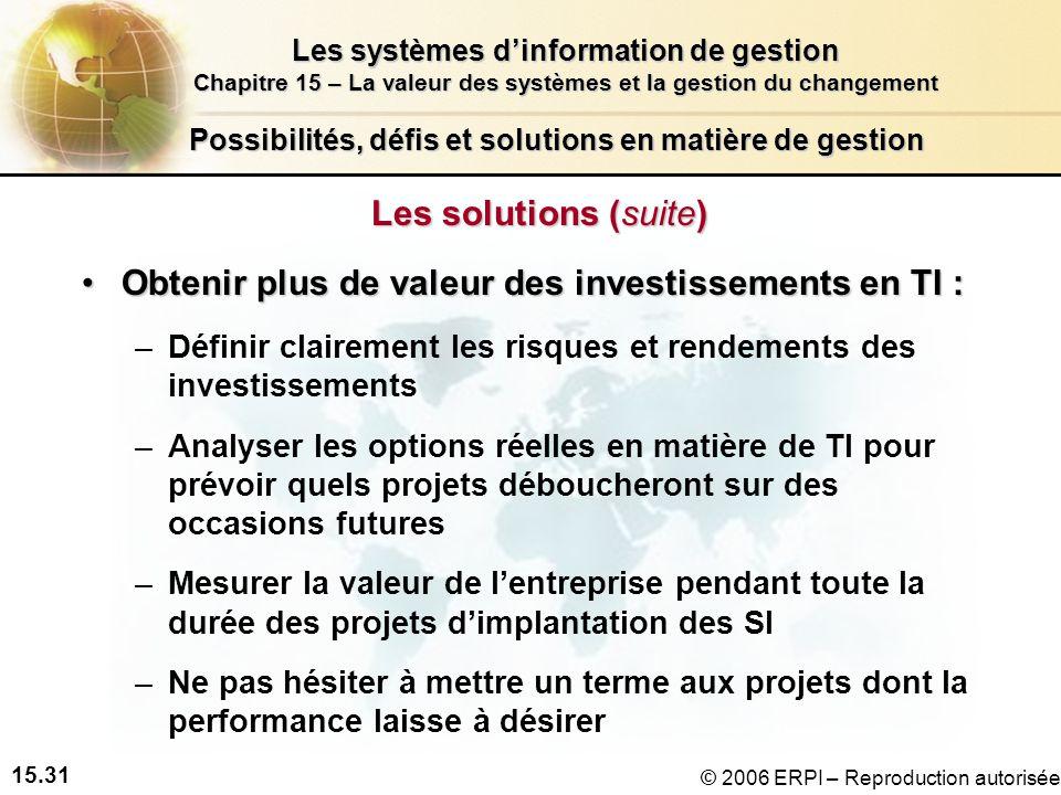 15.31 Les systèmes dinformation de gestion Chapitre 15 – La valeur des systèmes et la gestion du changement © 2006 ERPI – Reproduction autorisée Possibilités, défis et solutions en matière de gestion Les solutions (suite) Obtenir plus de valeur des investissements en TI :Obtenir plus de valeur des investissements en TI : –Définir clairement les risques et rendements des investissements –Analyser les options réelles en matière de TI pour prévoir quels projets déboucheront sur des occasions futures –Mesurer la valeur de lentreprise pendant toute la durée des projets dimplantation des SI –Ne pas hésiter à mettre un terme aux projets dont la performance laisse à désirer